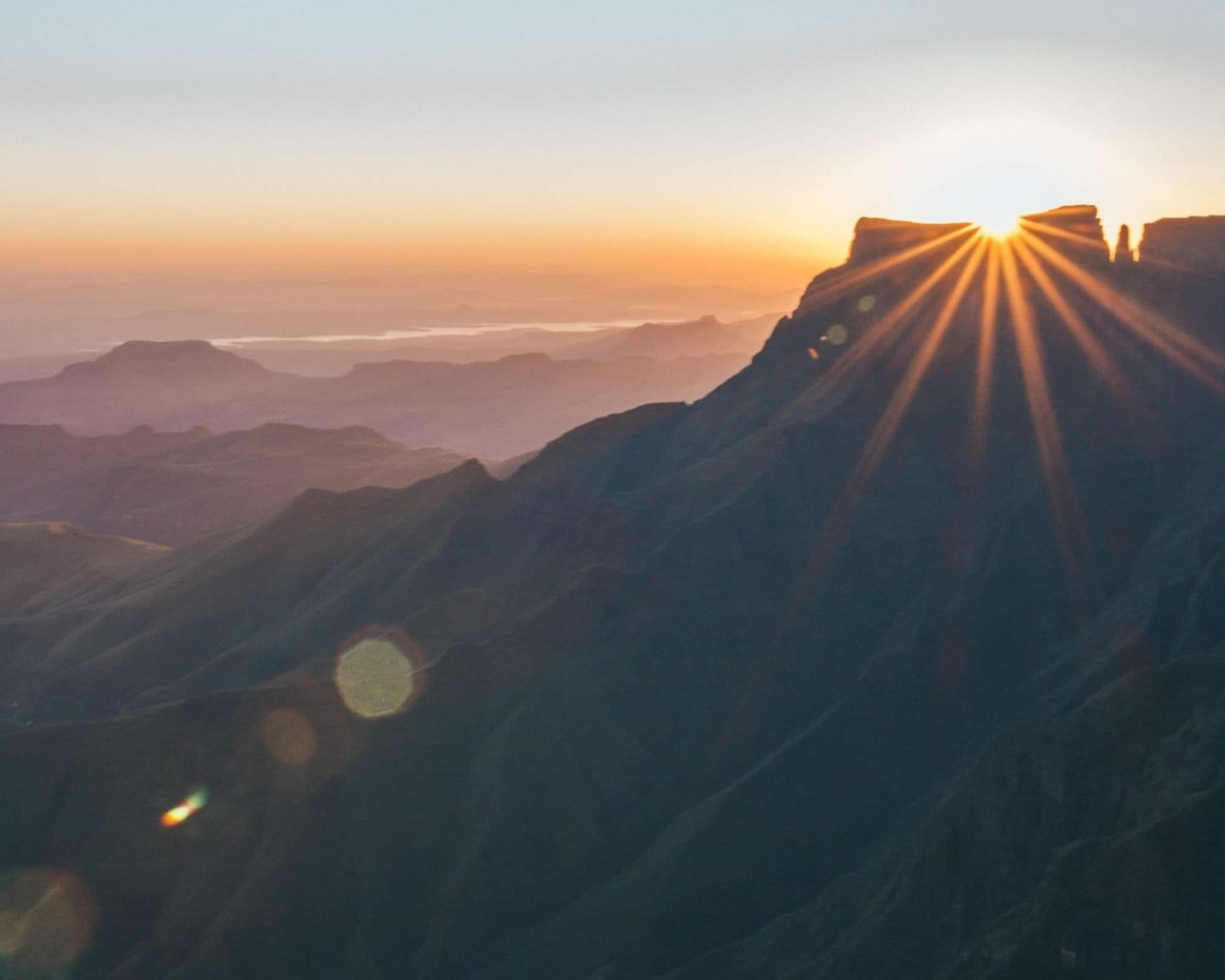sunrise on top of tugela falls
