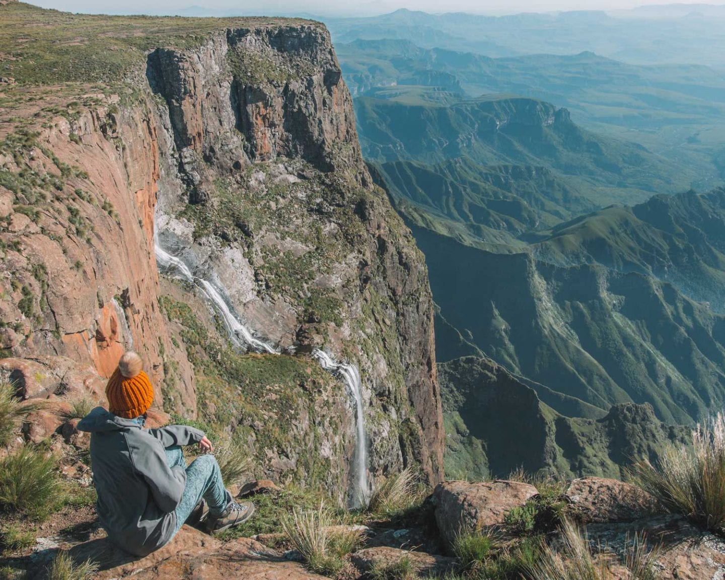girl on top of tugela falls