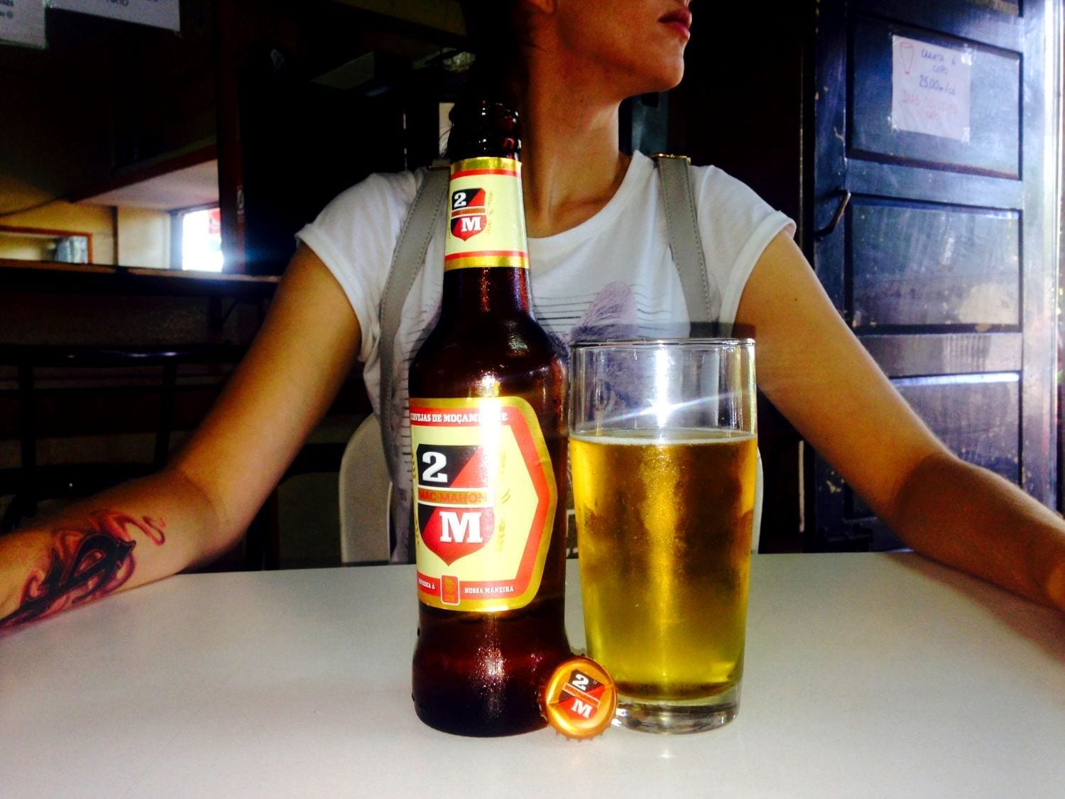 Trying the local beer! Photo by: Angelo Dias