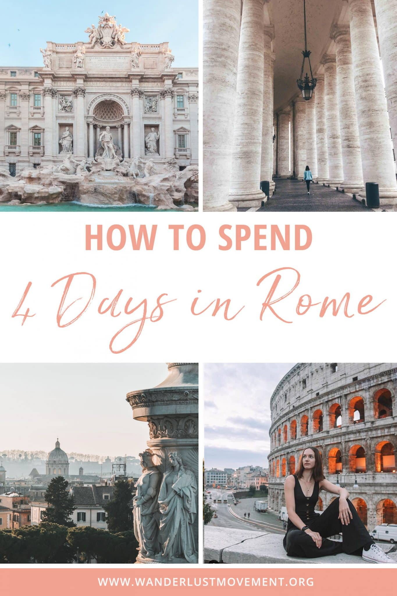 Rome is one of the best destinations in Italy. It\'s full of history, delicious food and you can see most of the top attractions for FREE. Here are some of the best things to do in Rome, where to stay in Rome and how to see the top Rome attractions like the Colosseum, Palatine Hill, Trevi Fountain, the Vatican and more with only a 4-day itinerary.