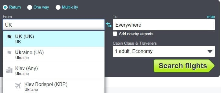 skyscanner cheapest month tool