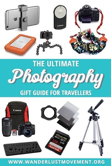 Buying gifts for travel photographers is cheaper than you think! Whether your budget is $25 or $100 - here's the ultimate photography gift guide! | Gift ideas for photographers | Gift ideas for travelers | travel photography | #giftideas #photography #travelphotography