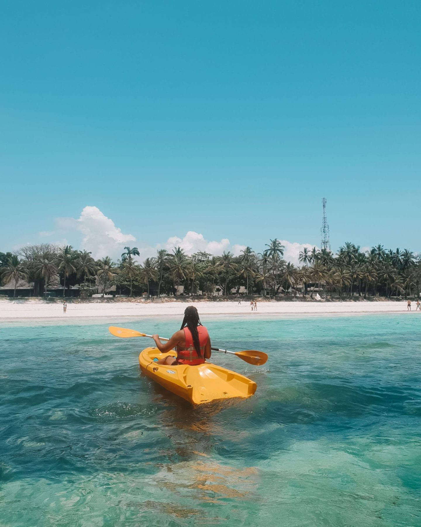 kayaking at diani beach