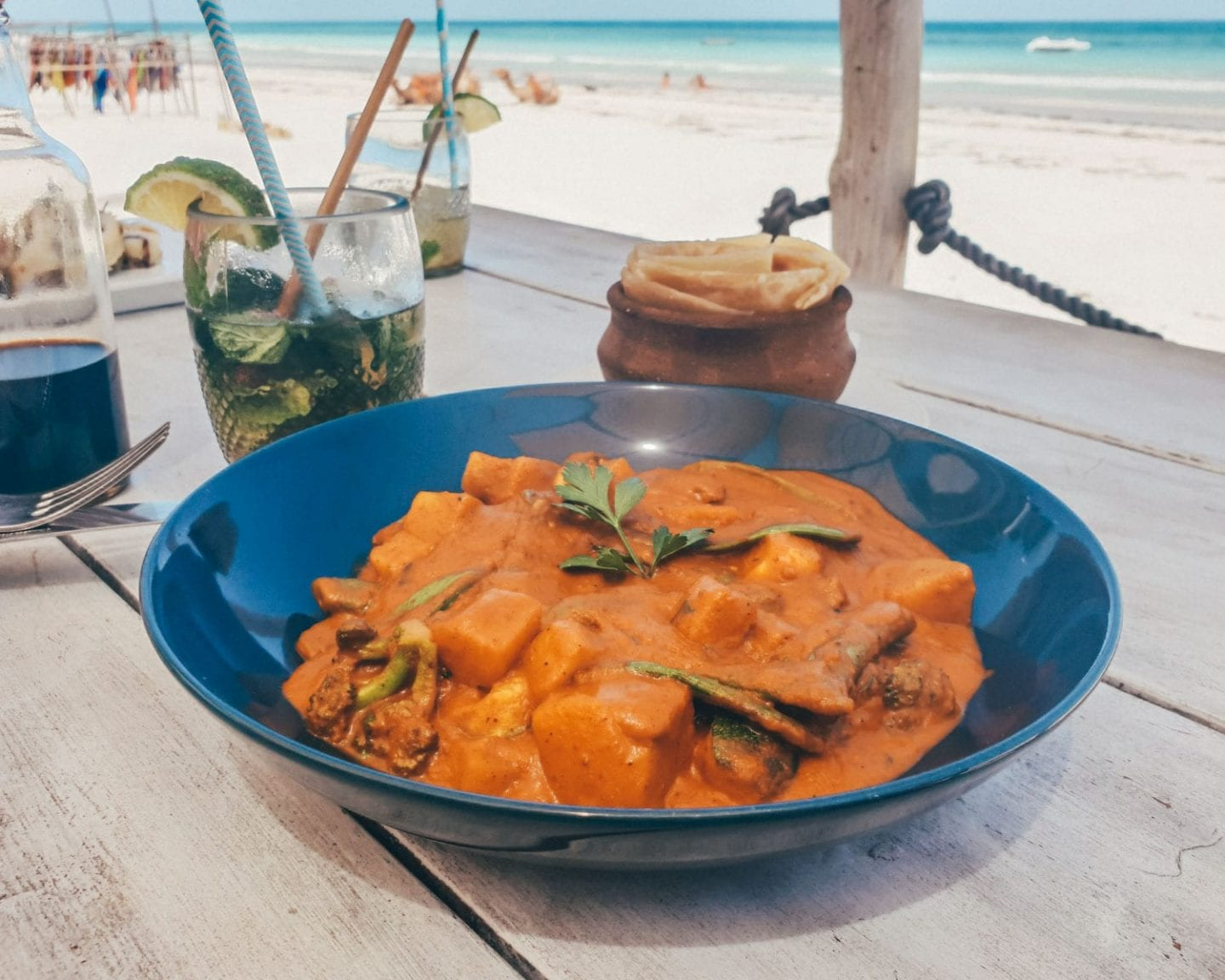 curry at nomad beach bar in diani beach