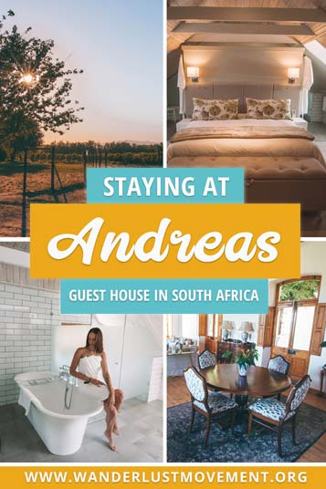 Located only an hour outside of Cape Town, Andreas Guest House is the perfect romantic getaways for wine lovers. The luxury guest house is set in the heart of Wellington's Winelands and is known for its award-winning shiraz. Here's my review on what you can expect! | South Africa Travel Tips | Winelands South Africa | Romantic Getaways in South Africa | #southafrica #wellington #winelands #hotelreviews #luxurytravel