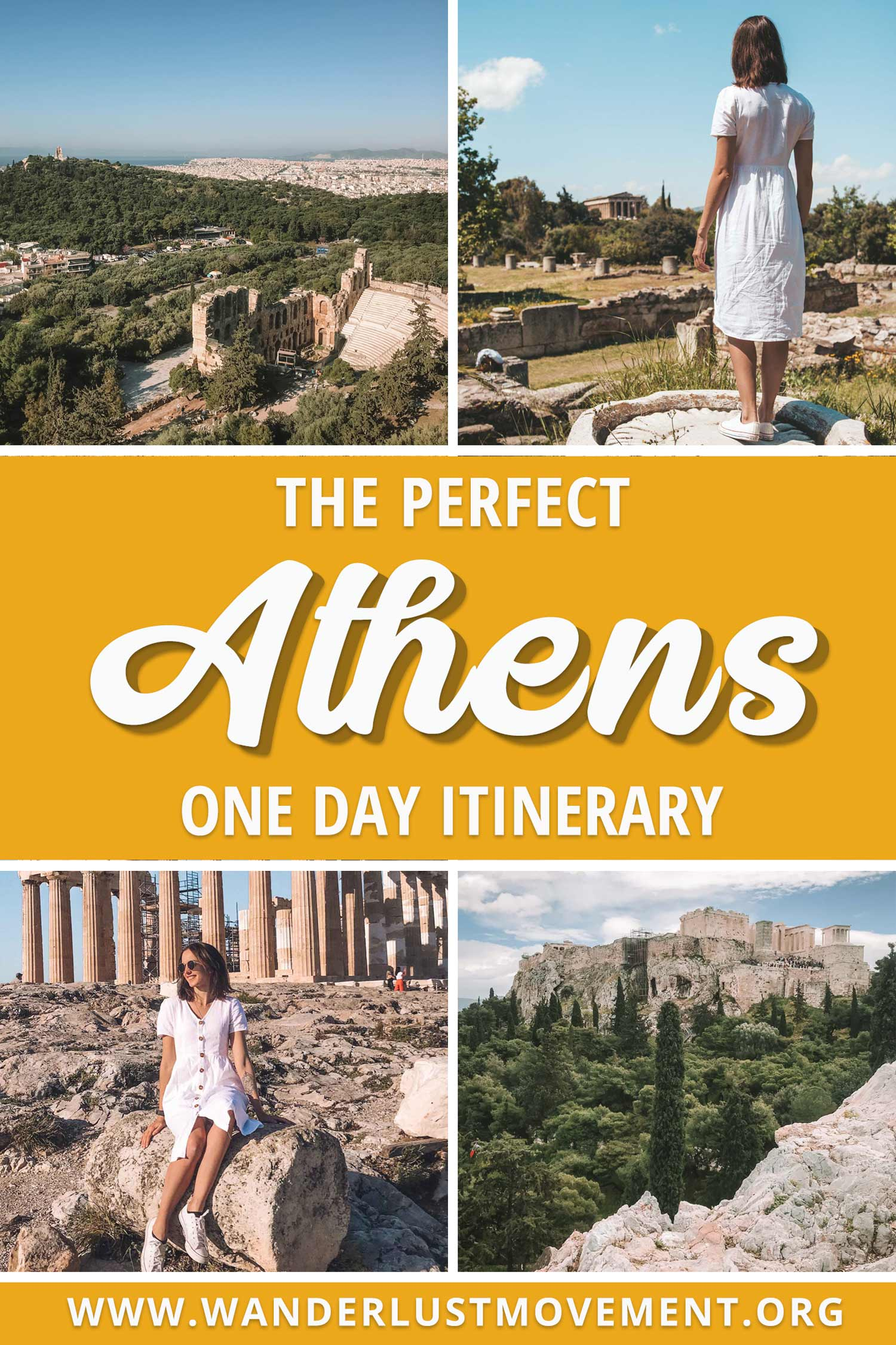 Only have one day to explore Athens? This is the perfect itinerary for you! You\'ll see all the major historical sites like the Acropolis and the Ancient Agora while you wander around the picture-perfect streets of Plaka and dine of delicious Greek food! | Athens in One Day | Athens itinerary | Athens Instagram Spots | What to do in Athens | Things to do in Athens | #athens #greece #traveltips #photography #thingstodoin #travel #photoideas