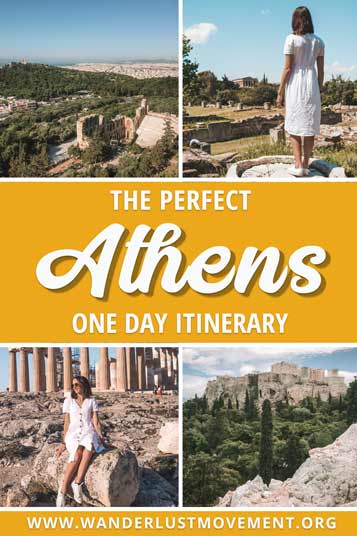 Only have one day to explore Athens? This is the perfect itinerary for you! You'll see all the major historical sites like the Acropolis and the Ancient Agora while you wander around the picture-perfect streets of Plaka and dine of delicious Greek food! | Athens in One Day | Athens itinerary | Athens Instagram Spots | What to do in Athens | Things to do in Athens | #athens #greece #traveltips #photography #thingstodoin #travel #photoideas
