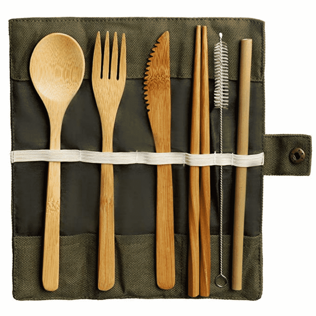 bamboo cutlery set and metal straws