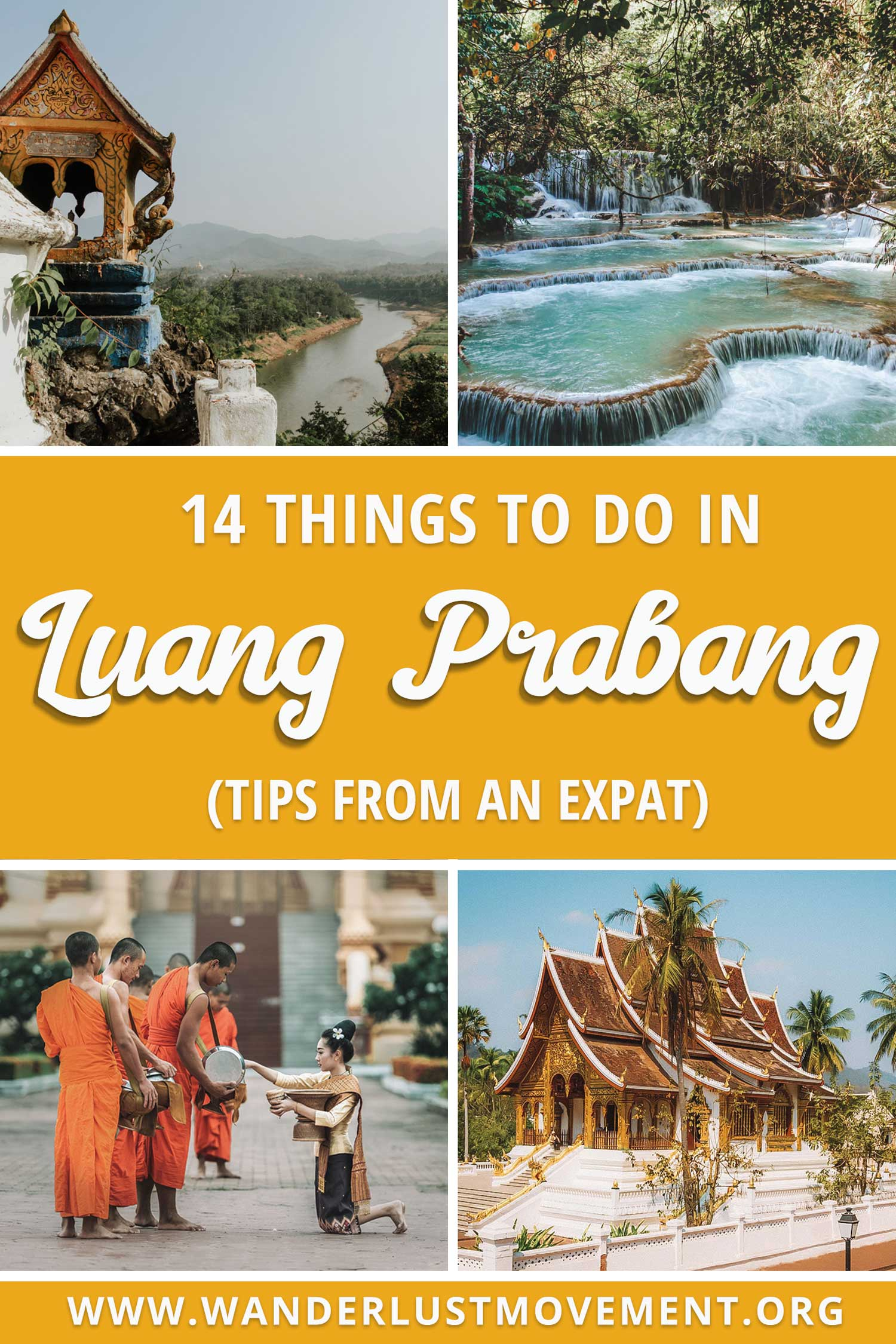 The ultimate list of things to do in Luang Prabang from an expat! From chasing gorgeous waterfalls to visiting ancient temples and a few off the beaten track surprises, here are some of the top things to do in the UNESCO World Heritage town of Luang Prabang! #laos #luangprabang #travel