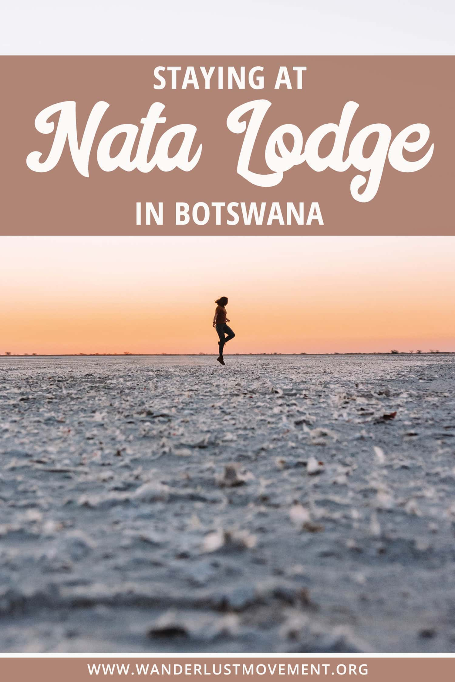 Nata Lodge is located in Makgadikgadi Pans National Park in Botswana. It\'s home to one of the largest salt flats in the world and the remains of Africa\'s largest inland sea. Stay at the rustic Nata Lodge and you\'ll be in prime position to watch thousands of flamingos turn the sky pink over Botswana\'s wet season. #botswana #safari #africa #travel #hotels