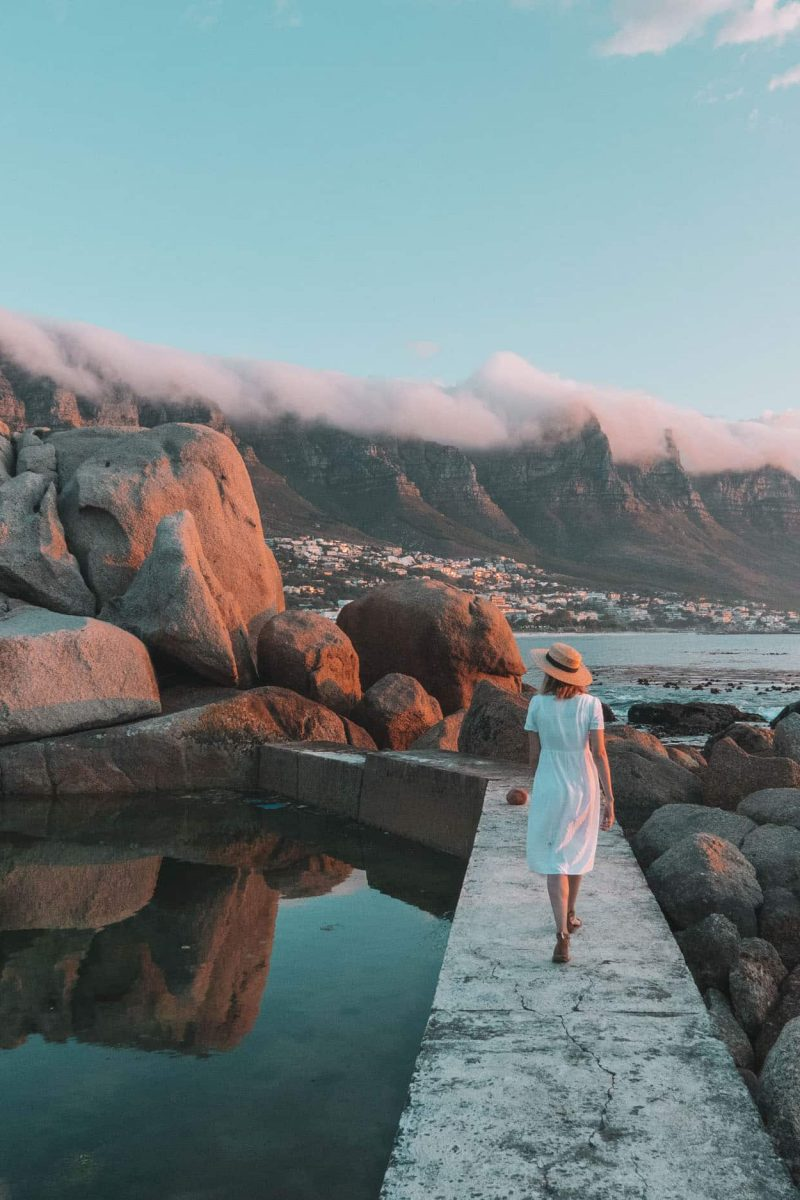 girl at maidens cove in cape town